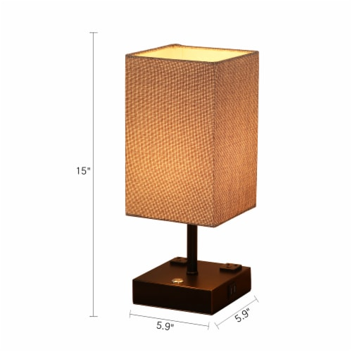 15 in. Black Desk lamp with Charging outlet and USB port Fabric Shade Perspective: back