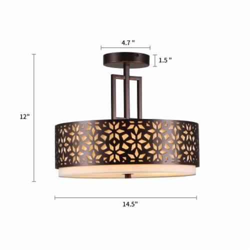 3-Light 14.5in. Oil Rubbed Bronze Drum Semi Flushmount Lights Perspective: back