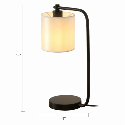 19 in. Black Industrial Iron Desk Lamp with Fabric shade Perspective: back