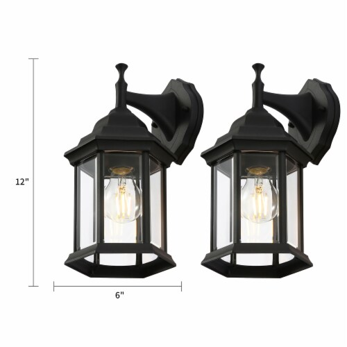 12-in Black Outdoor Wall Lantern Perspective: back