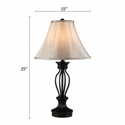 Cedar Hill 25-In Dark Bronze Table lamp  Fabric Shade Perspective: back