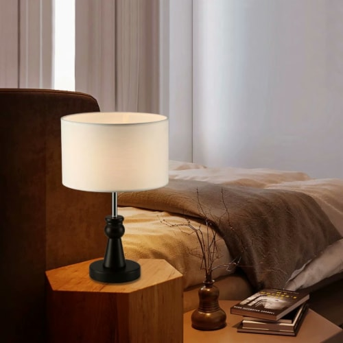 15in. Dark Bronze Table Lamp with Wood Base and round fabric shade Perspective: back