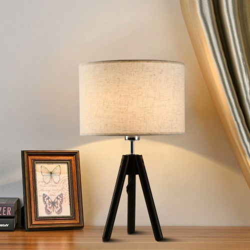"""19""""Dark Bronze  Tripod Table Lamp with round fabric shade Perspective: back"""