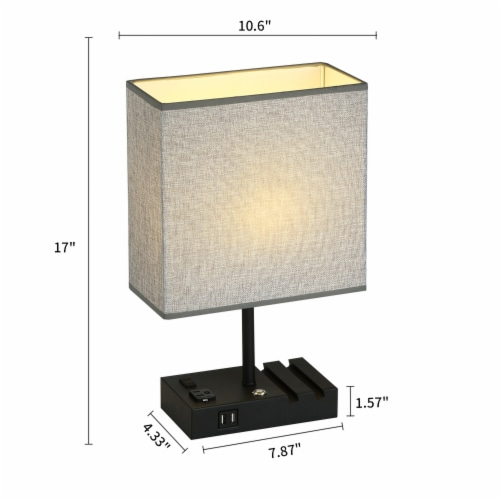 17 in. 2 USB Port Table Lamp with 2 Charging outlets and Charging Dock Perspective: back