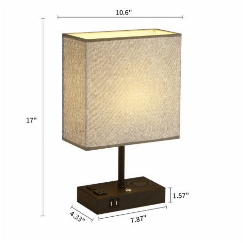 17 in. Wireless Charging Table Lamp with 2 USB Ports and 2 Charging outlets Perspective: back