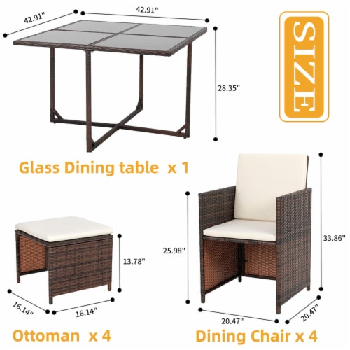 9 Pieces Rattan Patio Furniture Set Outdoor Dining Set with Waterproof Fabric Cushions Perspective: back
