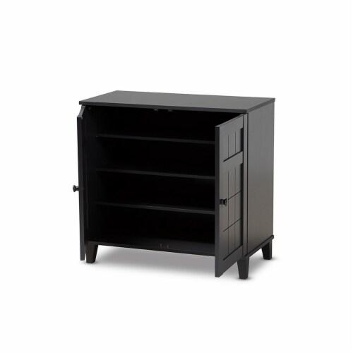 Baxton Studio Glidden Modern and Contemporary Dark Grey Finished 4-Shelf Wood Shoe Storage Perspective: back