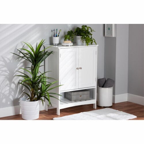 Baxton Studio Jaela Modern and Contemporary White Finished Wood 2-Door Bathroom Storage Perspective: back