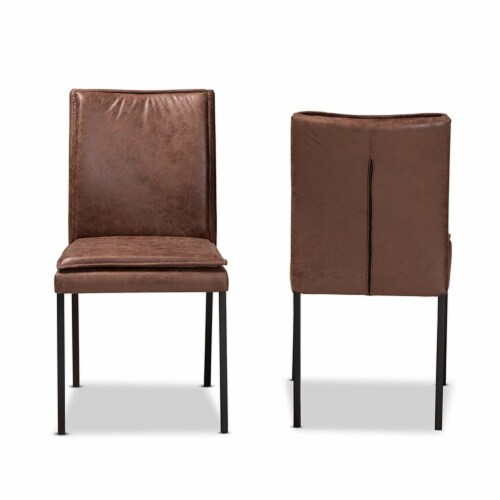 Baxton Studio Gerard Brown and Black Finished Metal 2-Piece Dining Chair Set Perspective: back