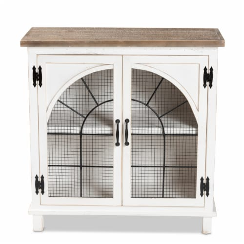 Baxton Studio Faron White and Oak Brown Finished Wood 2-Door Storage Cabinet Perspective: back