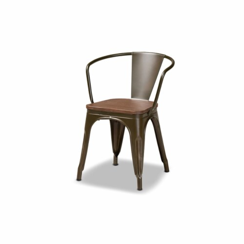 Ryland Brown Metal and Walnut Brown Finished Wood 4-Piece Dining Chair Set Perspective: back