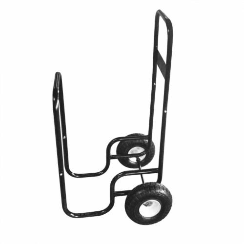 Steel Firewood Log Cart Wood Mover Heavy Duty Hauler Rack on Wheels Dolly Perspective: back