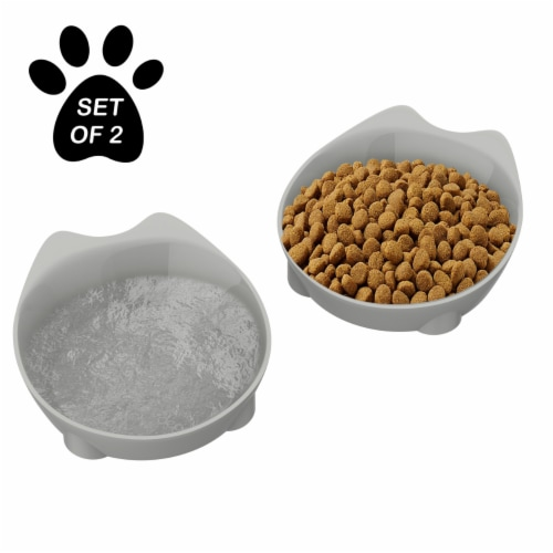 Cat Dishes  Set of 2 Cat-Shaped 8 Oz Shallow Melamine Resin Saucers for Food and Water Perspective: back
