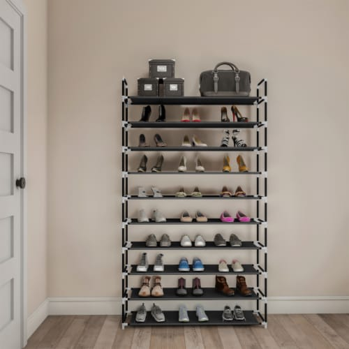Shoe Rack-10 Tier Storage for Sneakers, Heels, Flats, Accessories, and More-Space Saving Perspective: back