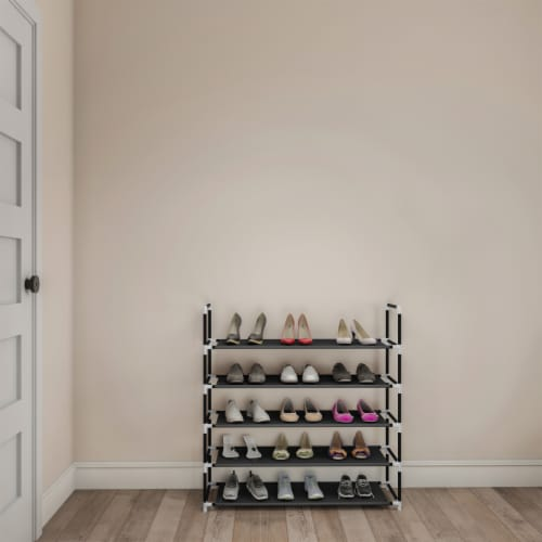 Shoe Rack-5 Tier Storage for Sneakers, Heels, Flats, Accessories, and More-Space Saving Perspective: back