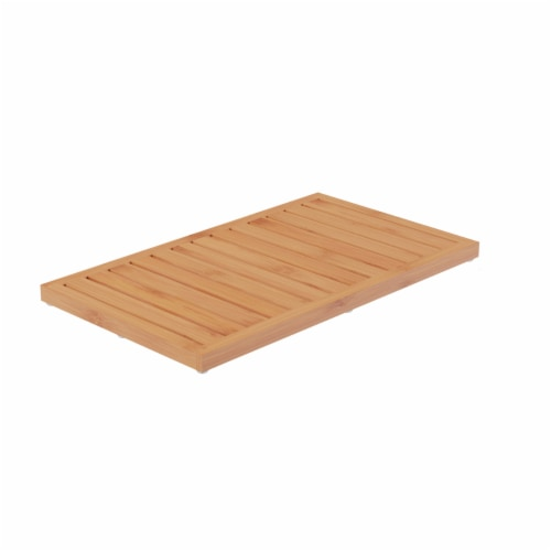 Bamboo Bath Mat Eco-Friendly Natural Wooden Non-Slip Slatted Design Mat for Indoor and Perspective: back