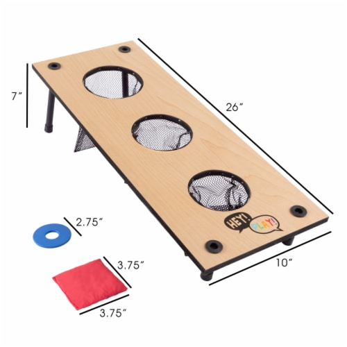 2-in-1 Washer Pitch and Beanbag Toss Wooden Cornhole Game Set Perspective: back