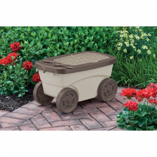 Suncast Portable 12.25 x 13-in Resin Multipurpose Garden Scooter Cart (Open Box) Perspective: back