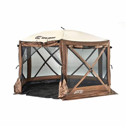 Clam Quick-Set Pavilion Camper 10 x 10 Ft 8 Person Outdoor Tent, Brown (2 Pack) Perspective: back