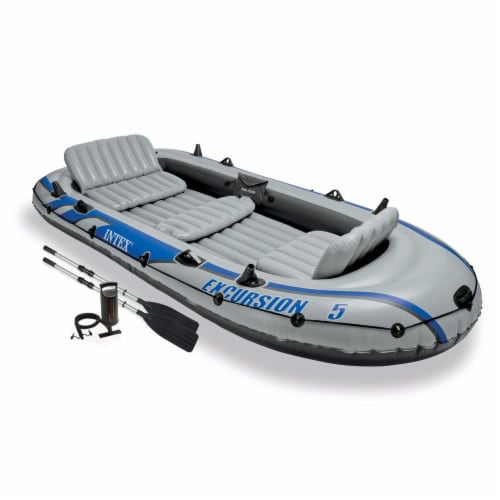 Intex Excursion 5 Person Inflatable Rafting &Fishing Boat Set w/2 Oars (3 Pack) Perspective: back