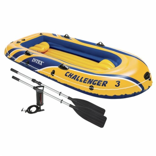 Intex Inflatable Raft Boat Set With Pump And Oars, Yellow (3 Pack) Perspective: back