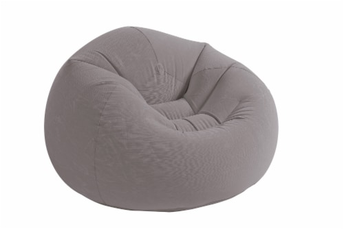 Intex Inflatable Contoured Corduroy Beanless Bag Lounge Chair, Gray (6 Pack) Perspective: back