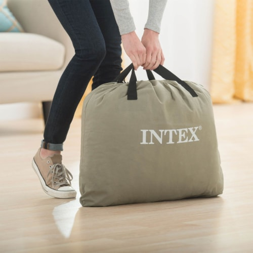 Intex Classic Queen Airbed with Built-In Pump & A Twin Air Mattress Bed Perspective: back
