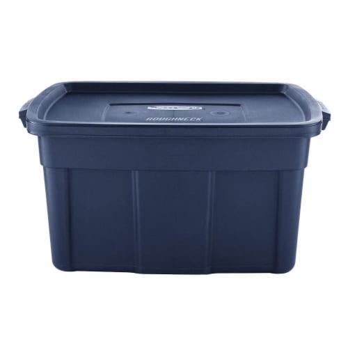 Rubbermaid 31 Gallon Stackable Storage Container, Dark Indigo Metallic (6 Pack) Perspective: back
