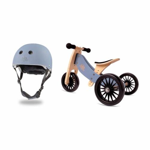Kinderfeets Adjustable Kids Helmet Bundle with Balance Bike Tricycle, Slate Blue Perspective: back