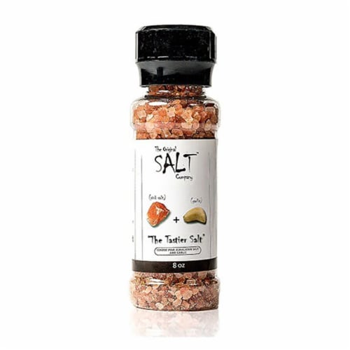The Original Salt Company 8 Ounce Pink Himalayan Salt Garlic and Onion Grinder Perspective: back