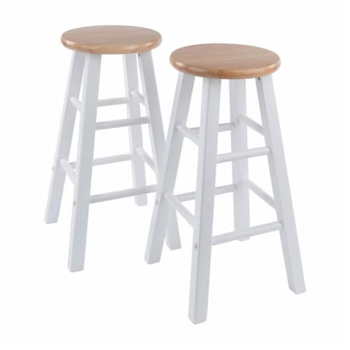 Winsome Element 23.86 Inch Solid Wood Counter Bar Stool Set, White (4 Pack) Perspective: back