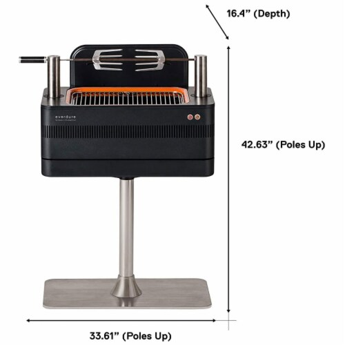 Everdure by Heston Blumenthal FUSION 29 Inch Pedestal Charcoal Grill/Rotisserie Perspective: back