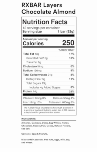 RXBAR Layers Chocolate Almond Layered Protein Bar Perspective: back