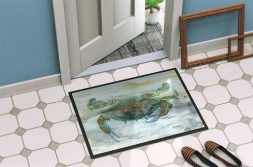 Crab a leg up Watercolor Indoor or Outdoor Mat 18x27 Perspective: back