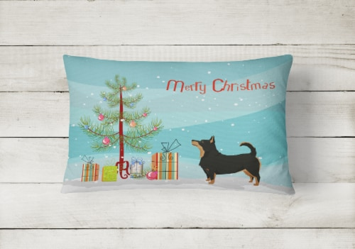 Lancashire Terrier Christmas Tree Canvas Fabric Decorative Pillow Perspective: back