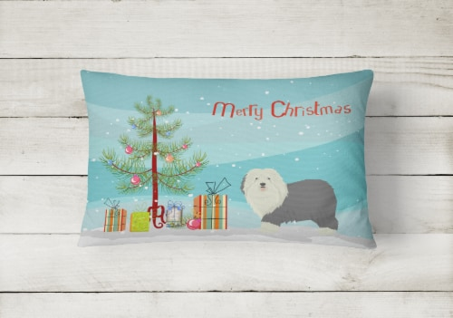 Old English Sheepdog Christmas Tree Canvas Fabric Decorative Pillow Perspective: back