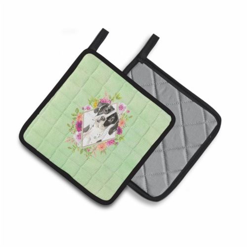 Carolines Treasures  CK4399PTHD English Pointer Green Flowers Pair of Pot Holder Perspective: back