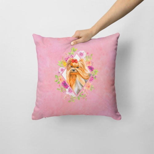 Yorkshire Terrier #2 Pink Flowers Fabric Decorative Pillow Perspective: back