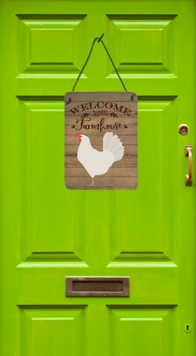 Leghorn Chicken Welcome Wall or Door Hanging Prints Perspective: back