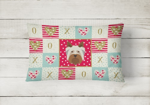 Australian Silky Terrier Love Canvas Fabric Decorative Pillow Perspective: back
