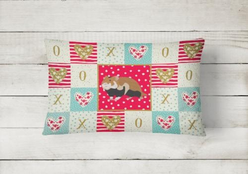 Carolines Treasures  CK5441PW1216 European Hamster Love Canvas Fabric Decorative Perspective: back