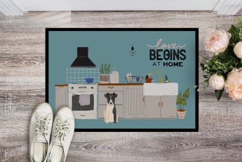 Smooth Fox Terrier Kitchen Scene Indoor or Outdoor Mat 24x36 Perspective: back
