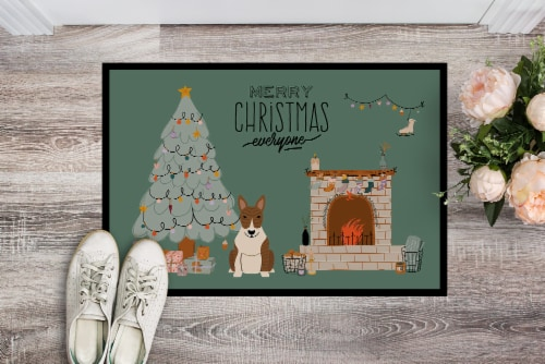 Brindle Bull Terrier Christmas Everyone Indoor or Outdoor Mat 18x27 Perspective: back