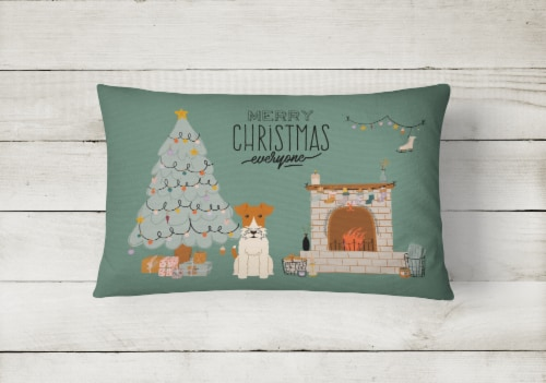 Wire Fox Terrier Christmas Everyone Canvas Fabric Decorative Pillow Perspective: back