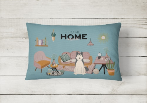 West Siberian Laika Spitz Sweet Home Canvas Fabric Decorative Pillow Perspective: back