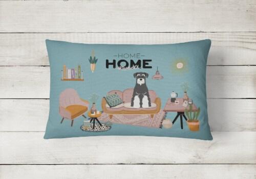 Salt and Pepper Standard Schnauzer Sweet Home Canvas Fabric Decorative Pillow Perspective: back