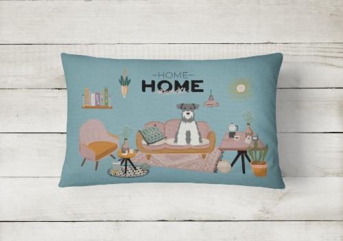 Salt and Pepper Miniature Schnauzer Sweet Home Canvas Fabric Decorative Pillow Perspective: back