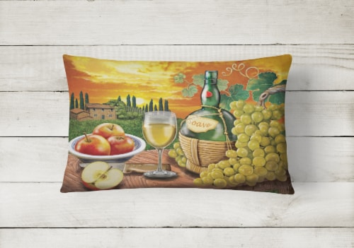 Soave, Apple, Wine and Cheese Canvas Fabric Decorative Pillow Perspective: back