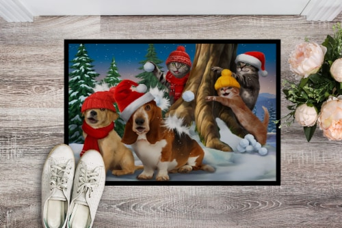 Basset, Golden and Cats Snowball Fight Indoor or Outdoor Mat 24x36 Perspective: back