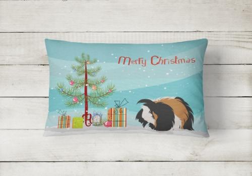 Sheba Guinea Pig Merry Christmas Canvas Fabric Decorative Pillow Perspective: back